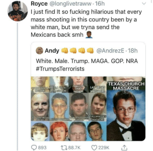 Church, Fucking, and Smh: Royce @longlivetraww 16h  I just find It so fucking hilarious that every  mass shooting in this country been by a  white man, but we tryna send the  Mexicans back smh  Andy  @AndrezE 18h  White. Male. Trump. MAGA. GOP. NRA  #TrumpsTerrorists  TEXAS CHURCH  MASSACRE  CHARLESTON  CHURCH  MASSAC  LAS VEGAS  MASSACRE  FOEONSOO SLA VISTA  SSACRE  MASSACRE  Otrur NAZ TALLAHASSES  MASAGRE  ZON  AUSTIN BOMBER  893  L188.7K  229K  10 Should we start sending white ppl back to Europe? Hahaha I'm down for that.
