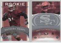 TBT @49ers Rookie card: RPKIE  165  Ed in s  DT  91  35  ngth and  leverage Adams routinely made his way  into the opponen  stint at  he can be a cement post in the middle and  shut down the inside running lanes  2 003  ANTHONY ADA  03 ◆ 2ND ROUND 57  FLARES TBT @49ers Rookie card
