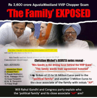 """Rahul Gandhi: Rs 3,600 crore AgustaWestland VVIP Chopper Scam  The Family E POSED  As Mrs. Gandhi is the driving force behind the vi.P  will not fly any morc in the Mi  Mrs Gandhi and her closest advisers are tho people the High  Commissioner should target.  Christian Michel's AGUSTA notes reveal  KEY ADVISERS  """"Mrs Gandhi is the driving force behind the VVIP Scam""""  """"The family wants their agreement honored""""  I) Manmohan Singh  2) Ahmed Patel  3) Pranab Mukherjee  Bribes of 15 to 16 Million Euros paid to the  4) M. Veerappa Moily  """"political family"""" and another 3 Million Euros to  5)Oscar Femandes  6) M K. Narayanan  the close associate of the family with initials """"AP"""".  Vinay Singh  Will Rahul Gandhi and Congress party explain who  the """"political family' and its close associate """"AP"""" are?"""
