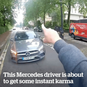 This driver is about to get a dose heavy of instant karma... 😂😍: RS  GV68 KFX  This Mercedes driver is about  to get some instant karma  TOK RIGHT This driver is about to get a dose heavy of instant karma... 😂😍