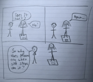 My little cousin drew this comic and I'm wheezing.: rt>  So wh  clocs MurM  eru when  eps  en it My little cousin drew this comic and I'm wheezing.