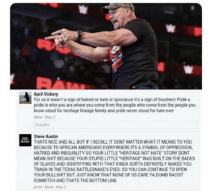 RT @DCisChillin: Steve Austin thoughts on the confederate flag: https://t.co/asz3UvLS4F: RT @DCisChillin: Steve Austin thoughts on the confederate flag: https://t.co/asz3UvLS4F