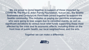 RT @Seahawks: We're proud to come together to support the Seattle community. 💙  » https://t.co/NXYZKAF4q6 https://t.co/W6dNwpSU75: RT @Seahawks: We're proud to come together to support the Seattle community. 💙  » https://t.co/NXYZKAF4q6 https://t.co/W6dNwpSU75