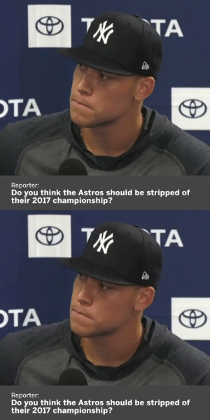 "RT @WhistleSports: Aaron Judge says he doesn't think the Astros 2017 World Series ""hold any value"" 🌶 🔥   https://t.co/rtixBwkNDx: RT @WhistleSports: Aaron Judge says he doesn't think the Astros 2017 World Series ""hold any value"" 🌶 🔥   https://t.co/rtixBwkNDx"