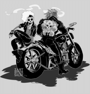 Lesbians, Tumblr, and Blog: RT zartbitter-salat:  Heyyy I passed all my exams and now I'm back! Here is some Krakenherz Biker AU art (aka pirate lesbians on motorcycles yeaa)