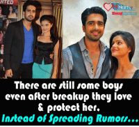 Love, Memes, and Heart: RTED  Heart  .com/paged lovers  There are still some boys  even after breakup they love  protect her.  Instead of spreading Rumor... There are still some boys ..