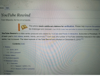Music, Videos, and Wikipedia: rticle Talk  YouTube Rewind  From Wikipedia, the free encyclopedia  This article needs additional citations for verification. Please help improve this article  be challenged and removed. (July 2018) (Learn how and when to remove this template message)  YouTube Rewind is a video series produced and created by YouTube and Portal A Interactive. Subscribe to Pewdiepie. T  of each year's viral videos, events, trends, and music.191 Each year, the number of YouTube celebrities featured in the video  series, has increased. The latest episode of YouTube Rewind was released on December 6, 20181101  Contents [hide]  1 History  1.1 2010-2011  1.2 2012 present  2 Series videos  3 YouTubers/guests  4 Released videos  4.1 Overview  4.1.1 Season 1 (2010-11)  4.1.2 Season 2 (2012-present)  5 Reception  6 Notes