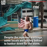 A shirtless man disregarded warnings from local authorities and walked out to a street in Myrtle Beach, S.C. on Friday morning to stare down a powerful hurricane - for the third time.: rtle Beach, South Carolina  FOX  DINN  Despite the repeated warnings  some locals are staying behind  to hunker down for the storm A shirtless man disregarded warnings from local authorities and walked out to a street in Myrtle Beach, S.C. on Friday morning to stare down a powerful hurricane - for the third time.