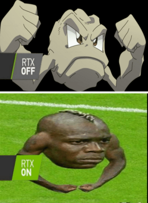 RTX  OFF  RTX  ON  0 Here, have a reality Geodude