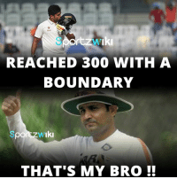 Karun Nair does it in Virender Sehwag style !!: rtzw 'Iki  REACHED 300 WITH A  BOUNDARY  Iki  THAT S MY BRO Karun Nair does it in Virender Sehwag style !!