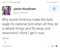 America: ru bee  buttstruggles  Source: dutchster  Jamie Woodham  ajwoodham  Why would America make the bald  eagle its national bird when all they do  is attack things and fly away and  nevermind I think I get it now.  dutchster:  233,658 notes