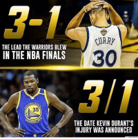 Memes, 🤖, and Lead: RUARY  THE LEAD THE WARRIORS BLEW  30  IN THE NBA FINALS  EN S  35  ARRO  THE DATE KEVIN DURANT'S  INJURY WAS ANNOUNCED It's a tough number for GS. pc: @eternitysportsperformance Tags: NBA Warriors HoopsNation