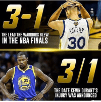 Memes, 🤖, and Lead: RUARY  THE LEAD THE WARRIORS BLEW  30  IN THE NBA FINALS  35  ARRO  THE DATE KEVIN DURANT'S  INJURY WAS ANNOUNCED My favorite numbers, 3-1 😂 FuckKD