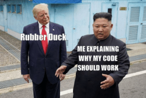 I like this meme template: Rubber Duck  ME EXPLAINING  WHY MY CODE  SHOULD WORK I like this meme template