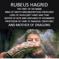 the creatures: RUBE US HAGRID  THE FIRST OF HIS NAME  KING OF VASTLY MISUNDERSTOOD CREATURES  LORD OF SHOULDN'T HAVE SAID THAT  KEEPER OF KEYS AND GROUNDS OF HOGWARTS  PROFESSOR OF CARE OF MAGICAL CREATURES  AND MOTHER OF DRAGONS