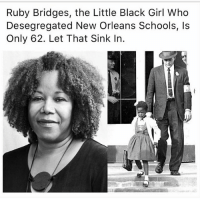 "Children, Destiny, and Energy: Ruby Bridges, the Little Black Girl Who  Desegregated New Orleans Schools, Is  Only 62. Let That Sink In. My mother went to the first non-segregated school in Fort Worth, Tx, and she's only 67... That's one generation from institutional-systematic slavery, which still exist ideologically, and mentally.. It's just spread to include non-wealthy caucasians (though they still benefit from the ""privilege"" of this mental illness), so it's more of an obvious agenda. Now, if integration was a actual form of unification, then the buses would have went both ways... White kids would have been bused to black communities with black teachers, and our culture based curriculum, as black children were bused to white schools for the purposes of societal indoctrination. But that's not how it happened. Our integration into white society decreased black owned business and land ownership dramatically, in exchange for higher wage jobs with white corporations, and the beginning of gentrification. Integration only benefitted the Caucasian society, because after 100's of years of free or cheap labor, their populace, on mass, wasn't skilled enough to keep the functionality of their economy sustainable without our creativity, energy, and currency. That's still relevant today with the countless stories of your boss taking credit, or benefiting from you improving whatever corporate methodology, by implementing your ideas. Before integration, buying black, thinking black, and being around your culture was first nature. Now, we can't source our own food, and we venerate wearing over priced items popularized by our culture, but not manufactured by it, while that company exploits us without reward or remorse. We've now taken on the mindset and desires of a culture who's only temperament has been war, conquering, destruction, and barbarism, as expressed with their ""Manifest Destiny"" pathological psyche... The people that stole your indigenous land here, took you from your indigenous land across the world, and murdered your ancestors (primarily with their diseased laden presence)-have transferred their thought process, wealth, and institutional oppression to their grand children, who are the Oligarchs of today... 👇🏿"