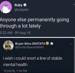 🥀: Ruby  @rubyetc  Anyone else permanently going  through a lot lately  5:22 AM 09 Aug 18  Bryan Silva GRATATA  @OutterSpacesWAG  i wish i could snort a line of stable  mental health  11/24/18, 1:14 PM 🥀