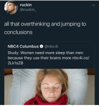 On god: ruckin  @ruckin_  all that overthinking and jumping to  conclusions  NBC4 Columbus @nbc4i  Study: Women need more sleep than men  because they use their brains more nbc4i.co/  2Lk1sZB On god