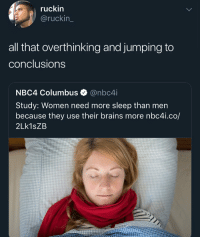 Brains, Funny, and Women: ruckin  @ruckin_  all that overthinking and jumping to  conclusions  NBC4 Columbus @nbc4i  Study: Women need more sleep than men  because they use their brains more nbc4i.co/  2Lk1sZB Thinking about ways to not get caught