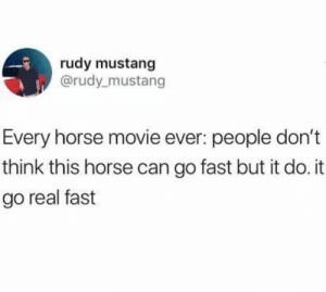 Mustang: rudy mustang  @rudy_mustang  Every horse movie ever: people don't  think this horse can go fast but it do. it  go real fast
