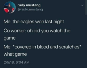 Best Memes of the Week – Weekly Wackyy Meme Dump 3 (52 Photos)-14 #funnymemes #funnypictures #humor #funnytexts #funnyquotes #funnyanimals #funny #lol #wtf #memes: rudy mustang  @rudy mustang  Me: the eagles won last night  Co worker: oh did you watch the  game  Me: *covered in blood and scratches  what game  2/5/18, 6:04 AM Best Memes of the Week – Weekly Wackyy Meme Dump 3 (52 Photos)-14 #funnymemes #funnypictures #humor #funnytexts #funnyquotes #funnyanimals #funny #lol #wtf #memes