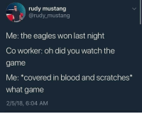 me irl: rudy mustang  @rudy_mustang  Me: the eagles won last night  Co worker: oh did you watch the  game  Me: *covered in blood and scratches*  what game  2/5/18, 6:04 AM me irl