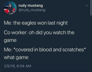 me irl by KevlarYarmulke MORE MEMES: rudy mustang  @rudy_mustang  Me: the eagles won last night  Co worker: oh did you watch the  game  Me: *covered in blood and scratches*  what game  2/5/18, 6:04 AM me irl by KevlarYarmulke MORE MEMES
