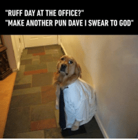 "9gag, God, and Memes: ""RUFF DAY AT THE OFFICE?""  ""MAKE ANOTHER PUN DAVE I SWEAR TO GOD"" A ""pun""ishment for him. Follow @9gag 9gag ruffday pun instadog"