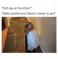 "Fucking, Funny, and God: ""Ruff day at the office?""  ""Make another pun Steven swear to god"" Fucking Stevens so insensitive sometimes (@thefunnyintrovert)"