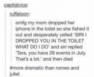 Iphone, Siri, and Romeo and Juliet: ruffaloon:  omfg my mom dropped her  iphone in the toilet so she fished it  out and desperately yelled 'SIRI I  DROPPED YOU IN THE TOILET  WHAT DOI DO' and siri replied  Tara, you have 28 events in July  That's a lot.' and then died  #more dramatic than romeo and  juliet Siris last sacrifice