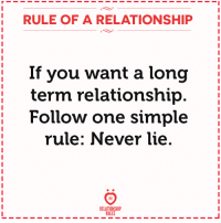 Never lie.: RULE OF A RELATIONSHIP  If you want a long  term relationship  Follow one simple  rule: Never lie  RR  RELATIONSHIP  RULES Never lie.