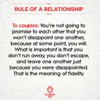 Disappointed, Run, and Meaning: RULE OF A RELATIONSHIP  lo couples: You're nof going fo  promise to each other that you  won't disappoint one another,  because at some point, you will  What is important is that you  don't run away you don't escape,  and leave one another just  because you were disappointed.  That is the meaning of fidelity.  RELATIONSHIP  RULES