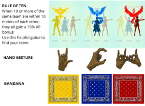 ratedmirr:  heyblackrose:  ur-not-my-average-taco:  black-charm:  pinkcookiedimples:  darkwingsnark:  nihilistgirlfriend:  pyronoid-d:  This is next level  Don't get your stupid nerd asses jumped these are actual gang signs and colors none of you would win those fights just wear a goddamned legendary bird badge or hat to avoid getting stabbed  … Do people honestly not know who the Latin Kings, Bloods, and Crips are? Guys, signal boost– DON'T.  DO. THIS.     Lmao y'all are gonna get y'all asses killed doing this  I wanna know who thought this was a damn joke 😒  Please if you live in So-Cal, home to the Bloods and Crips DO NOT do this!!!! You'll get shot or worse  DO NOT DO THIS!!!!!  It's not even just in SoCal tho. It's on the east coast too. They gonna have these lil niggas killed over a damn meme. I don't know about where y'all from, but the hood niggas i know are bout that action. They see those colors and those signs and it could be over: RULE OF TEN  When 10 or more of the  same team are within 10  meters of each other,  they all gain a 10% XP  bonus!  Use this helpful guide to  find your team:  Teae aker  Tean aloe  Tean waloer  HAND GESTURE  BANDANA ratedmirr:  heyblackrose:  ur-not-my-average-taco:  black-charm:  pinkcookiedimples:  darkwingsnark:  nihilistgirlfriend:  pyronoid-d:  This is next level  Don't get your stupid nerd asses jumped these are actual gang signs and colors none of you would win those fights just wear a goddamned legendary bird badge or hat to avoid getting stabbed  … Do people honestly not know who the Latin Kings, Bloods, and Crips are? Guys, signal boost– DON'T.  DO. THIS.     Lmao y'all are gonna get y'all asses killed doing this  I wanna know who thought this was a damn joke 😒  Please if you live in So-Cal, home to the Bloods and Crips DO NOT do this!!!! You'll get shot or worse  DO NOT DO THIS!!!!!  It's not even just in SoCal tho. It's on the east coast too. They gonna have these lil niggas killed over a damn meme. I don't know about where y'all from, but the hood niggas i know are bout that action. They see those colors and those signs and it could be over