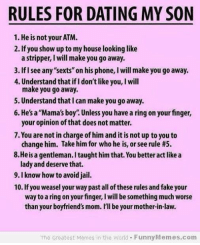 25 rules for dating my son