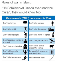 "Allahu Akbar, Being Alone, and Anaconda: Rules Of War in islam  If ISIS/Taliban/Al Qaeda ever read the  Quran, they would know too  Muhammed's (PBUH) commands in Wars  Don't cut a tree  Don't kill a woman  559  Don't kill a child  Don't kill a sick person  Don't kill old people  Don't kill a monk or a priest  Don't destroy a temple or  a church  Don't disfigure the dead  Don't kill an animal  except for eating  Don't destroy a building  Don't kill those who  Be good to the prisoners  and feed themm  surrendered  Don't kill who ran away  Don't enforce Islam <p><a href=""http://hominishostilis.tumblr.com/post/135849791733/durkin62-haydrion-drunxaspunx"" class=""tumblr_blog"">hominishostilis</a>:</p>  <blockquote><p><a class=""tumblr_blog"" href=""http://durkin62.tumblr.com/post/135849394087"">durkin62</a>:</p> <blockquote> <p><a class=""tumblr_blog"" href=""http://haydrion.tumblr.com/post/135846616086"">haydrion</a>:</p> <blockquote> <p><a class=""tumblr_blog"" href=""http://drunxaspunx.tumblr.com/post/133575978969"">drunxaspunx</a>:</p> <blockquote> <p><a class=""tumblr_blog"" href=""http://stillnotchrys.tumblr.com/post/133314199115"">stillnotchrys</a>:</p> <blockquote> <p><a class=""tumblr_blog"" href=""http://arab-quotes.tumblr.com/post/127324873222"">arab-quotes</a>:</p> <blockquote> <blockquote><p>The last one alone is enough to debunk the whole premise that ISIS represents Islam.<br/></p></blockquote> </blockquote> <p>I'm going to put this on queue just incase people need reminding</p> </blockquote> <p>Wow ISIS is breaking every single one of these rules.</p> </blockquote> <p>I do not even doubt that they did the first one. Fuckers. <br/></p> </blockquote> <p>Trees- <a href=""http://www.theonlyquran.com/hadith/Sahih-Muslim/?volume=19&amp;chapter=10"">It is narrated on the authority of 'Abdullah that the Messenger of Allah  ordered the date-palms of Banu Nadir to be <b>burnt and cut</b>. These palms were at Buwaira. Qutaibah and Ibn Rumh in their versions of the tradition have added: So Allah, the Glorious and Exalted, revealed the verse:"" Whatever trees you have cut down or left standing on their trunks, it was with the permission of Allah so that He may disgrace the evil-doers&quot; </a><br/></p> <p>Children- <a href=""http://www.usc.edu/org/cmje/religious-texts/hadith/abudawud/038-sat.php#038.4390"">Muhammed order his men to make the boys pull down their pants, if they had any pubic hair they were slaughtered. The rest enslaved.</a> He also was totally cool with kids being killed as collateral damage.   <i>It is reported on the authority of Sa'b b. Jaththama that the Prophet of Allah when asked about the women and children of the polytheists being killed during the night raid, said: ""<b>They are from them.</b>""</i> (Sahih Muslim <a href=""http://www.usc.edu/org/cmje/religious-texts/hadith/muslim/019-smt.php#019.4322"">4322</a>, see also Bukhari <a href=""http://www.usc.edu/org/cmje/religious-texts/hadith/bukhari/052-sbt.php#004.052.256"">52:256</a>)  </p> <p>Elderly- Mohammed ordered an old woman ripped in half and then fucked her daughter.   <i>She was a very old woman, wife of Malik. Her daughter </i>[and another]<i> were also taken. Zayd ordered Qays to kill Umm Qirfa and he killed her cruelly by putting a rope between her legs and to two camels and driving them until they rent her in two)</i>. (Ibn Ishaq/Hisham 980)   <i>I drove them along until I brought them to Abu Bakr who bestowed that girl upon me as a <b>prize</b>.  So we arrived in Medina.  I had not yet disrobed her when the Messenger of Allah (may peace be upon him) met me in the street and said: ""Give me that girl.""</i> (Sahih Muslim <a href=""http://www.usc.edu/org/cmje/religious-texts/hadith/muslim/019-smt.php#019.4345"">4345</a>)  </p> <p>He also had   Abu Afak, who was supposedly over 100 executed for a satirical poem mocking Islam.   <i>The apostle said, ""Who will deal with this rascal for me?""  Whereupon [a follower] went forth and killed him.</i> (Ibn Ishaq/Hisham 995).  </p> <p>He also ordered the death of  another elderly person, <i>The Prophet recited Suratan-Najm (103) at Mecca and prostrated while reciting it and those who were with him did the same except an old man who took a handful of small stones or earth and lifted it to his forehead and said, ""This is sufficient for me."" Later on, I saw him killed as a non-believer.</i>  (Bukhari <a href=""http://www.usc.edu/org/cmje/religious-texts/hadith/bukhari/019-sbt.php#002.019.173"">19:173</a>)  </p> <p>Churches temples- Couldn't find anything, for either one. Just people saying Islam says to protect them, but that's not actual doctrine and carries no more significance than people saying they should destroy them.</p> <p>buildings- Same as last.</p> <p>People who surrendered- Mohammed ordered the execution of hundreds of Jews who surrendered to him.   Abu Dawud; see Ibn Ishaq, p. 466  </p> <p>Running away- No info. </p> <p>Women- Muhammad directly ordered the death of several women in his time.  After he captured Mecca in 630, for example, he demanded that two female slaves be put to death along with their master, merely because they had mocked Muhammad in song (Ibn Ishaq/Hisham 819, Abu Dawud <a href=""http://www.usc.edu/org/cmje/religious-texts/hadith/abudawud/014-sat.php#014.2678"">2678</a>).The brutal death of <a href=""http://www.thereligionofpeace.com/muhammad/myths-mu-elderly.htm"">Umm Qirfa</a> also refutes this myth.  So do the women who were killed in battle (Bukhari <a href=""http://www.usc.edu/org/cmje/religious-texts/hadith/bukhari/052-sbt.php#004.052.257"">52:257</a>), when Muhammad's men attacked a town or tribe – although his preference was that women be captured for sexual servitude rather than killed.One account not only speaks of the killing of a defenseless woman, but also refutes the broader misconception that Islam is against attacking others for reasons other than <a href=""http://www.thereligionofpeace.com/muhammad/myths-mu-self-defense.htm"">self-defense</a>:<i>We went with the apostle on the raid of Dhatu'l-Riqa of Nakhl and <b>a man killed the wife of one of the polytheists</b>.  When the apostle was on his way back, her husband, who had<b> been away</b>, returned and heard the news of her death.  He swore that he would not rest until he had taken vengeance</i>. (Ibn Ishaq/Hisham 665)Muhammad ordered a Jewish woman put to death for literally losing her mind while the male members of her family were being <a href=""http://www.thereligionofpeace.com/muhammad/myths-mu-qurayza.htm"">beheaded</a> (Ibn Ishaq/Hisham 691).  This one could go on for awhile, but I think that's sufficient. </p> <p>Sick- Again, no info. </p> <p>Priests- Nothing specific to them but it most certainly says to kill all infidels. Priests and monks fall into that category.   <a href=""http://www.usc.edu/org/cmje/religious-texts/quran/verses/002-qmt.php#002.191"">Quran (2:191-193)</a>   <a href=""http://www.usc.edu/org/cmje/religious-texts/quran/verses/003-qmt.php#003.056"">Quran (3:56)</a>   <a href=""http://www.usc.edu/org/cmje/religious-texts/quran/verses/003-qmt.php#003.151"">Quran (3:151)</a>   </p> <p>Don't disfigure the dead- no info.</p> <p>Animals- don't give enough of a shit to look up. </p> <p>Treat prisoners well- Already have verses permitting and ordering the execution, enslavement, and rape of prisoners. </p> <p>Don't enforce Islam- Already have verses promoting attacking non Muslims and forcing them to either convert or die. If you leave the faith you are executed,   <a href=""http://www.usc.edu/org/cmje/religious-texts/quran/verses/004-qmt.php#004.089"">Qur'an (4:89)</a> and those who live in Islamic nations but aren't Muslims (who aren't also executed) are second class citizens   <a href=""http://www.usc.edu/org/cmje/religious-texts/quran/verses/009-qmt.php#009.029"">Qur'an (9:29)</a>. </p> </blockquote>  <p><i>Would Muhammad…?</i></p><p><br/></p><p><b>Have sex with a 9-year-old girl? yup! </b><a href=""http://www.usc.edu/org/cmje/religious-texts/hadith/muslim/008-smt.php#008.3309"">Hadith</a></p><p>Advocate beheading? yup! <a href=""http://www.usc.edu/org/cmje/religious-texts/quran/verses/008-qmt.php#008.012"">Qur'an</a></p><p>Require women to <br/>cover their faces? yup! <a href=""http://www.thereligionofpeace.com/Quran/007-veils.htm"">Qur'an &amp; Hadith</a></p><p>Befriend Christians and Jews? NOPE! <a href=""http://www.thereligionofpeace.com/Quran/009-friends-with-christians-jews.htm"">Qur'an</a></p><p>Own slaves? YUP <a href=""http://www.thereligionofpeace.com/Quran/015-slavery.htm"">Qur'an &amp; Hadith</a></p><p>Marry his daughter-in-law? You BEtcha! <a href=""http://www.usc.edu/org/cmje/religious-texts/quran/verses/033-qmt.php#033.037"">Qur'an</a></p><p>Recommend wife-beating? Yer bugger! <a href=""http://www.thereligionofpeace.com/Quran/003-wife-beating.htm"">Qur'an &amp; Hadith</a></p><p>Hit his own wife? Affirmative! <a href=""http://www.usc.edu/org/cmje/religious-texts/hadith/muslim/004-smt.php#004.2127"">Hadith</a></p><p>Kill prisoners of war? quite regularly! <a href=""http://www.usc.edu/org/cmje/religious-texts/hadith/abudawud/038-sat.php#038.4390"">Hadith</a></p><p>Advocate suicide attacks? Uh huh! <a href=""http://www.thereligionofpeace.com/Quran/018-suicide-bombing.htm"">Qur'an &amp; Hadith</a></p><p>Kill apostates? Killed'em good! <a href=""http://www.thereligionofpeace.com/Quran/012-apostasy.htm"">Qur'an &amp; Hadith</a></p><p>Tell sick persons to heal them-selves by drinking camel urine? Yum Yum, motherfucker! <a href=""http://www.usc.edu/org/cmje/religious-texts/hadith/bukhari/082-sbt.php#008.082.797"">Hadith</a></p><p>Beat children who don't pray? Fuck those little shits, amirite? <a href=""http://www.usc.edu/org/cmje/religious-texts/hadith/abudawud/002-sat.php#002.0494"">Hadith</a></p><p>Have boys as young as 13-years-old beheaded? Them toO! <a href=""http://www.usc.edu/org/cmje/religious-texts/hadith/abudawud/038-sat.php#038.4390"">Hadith</a></p><p>Have eleven wives? (at one time) Hoo Hoo boy, who's got Tuesday? <a href=""http://www.usc.edu/org/cmje/religious-texts/hadith/bukhari/005-sbt.php#001.005.268"">Hadith</a></p><p>Approve of Sex with Minors? Pedophilia too? Neat! <a href=""http://www.usc.edu/org/cmje/religious-texts/quran/verses/065-qmt.php#065.004"">Qur'an</a></p><p>Lie? nooooo! <a href=""http://www.thereligionofpeace.com/Quran/011-taqiyya.htm"">Qur'an &amp; Hadith</a></p><p>Enslave women and children? That's what they're <i>there </i>for, right? <a href=""http://answering-islam.org/Authors/Arlandson/qurayza_jews.htm"">Hadith &amp; Ibn Ishaq</a></p><p>Stone adulterers to death? Cheaters get <i>rocks! </i><a href=""http://www.thereligionofpeace.com/Quran/001-adultery_punishment.htm"">Hadith</a></p><p>Torture a man out of greed? Because he <i>needed </i>that shit !<a href=""http://www.answering-islam.org/Silas/kinana.htm"">Ibn Ishaq</a></p><p>Consider men and women equal partners? HA, nope! <a href=""http://www.thereligionofpeace.com/Quran/010-women-worth-less.htm"">Qur'an &amp; Hadith</a></p><p>Steal? What's yours is mine! <a href=""http://www.thereligionofpeace.com/Quran/020-stealing.htm"">Qur'an &amp; Hadith</a></p><p>Kill someone for insulting him? Fuck you too, m8! <a href=""http://www.answering-islam.org/Authors/Arlandson/dead_poets.htm"">Qur'an &amp; Hadith</a></p><p>Preach love for people of all religions? ""The Religion of Peace!"" <a href=""http://www.usc.edu/org/cmje/religious-texts/quran/verses/009-qmt.php#009.030"">Qur'an &amp; Hadith</a></p><p>Extort money from other religions? It'd be a <i>shame </i>if something happened…<a href=""http://www.thereligionofpeace.com/Quran/004-jizya.htm"">Qur'an &amp; Hadith</a></p><p>Keep women as sex slaves? In the service of Allah! <a href=""http://www.usc.edu/org/cmje/religious-texts/quran/verses/004-qmt.php#004.024"">Qur'an</a></p><p>Force conversions to Islam? It's do or die, folks! <a href=""http://www.thereligionofpeace.com/Quran/013-forced-conversion.htm"">Qur'an &amp; Hadith</a></p><p>Encourage acts of terror? Allahu Akbar! <a href=""http://prophetofdoom.net/Islamic_Quotes_Terrorism.Islam"">Qur'an &amp; Hadith</a></p><p>Kill a woman? <a href=""http://www.answering-islam.org/Muhammad/Enemies/asma.html"">Biographers</a></p><p>Capture a woman and rape her? <a href=""http://www.usc.edu/org/cmje/religious-texts/hadith/bukhari/046-sbt.php#003.046.718"">Hadith</a></p><p>Encourage the rape of women in front of their husbands? <a href=""http://www.muslimhope.com/AbuDawud.htm"">Hadith (Abu Dawud: 2150)</a></p><p>Oh, and don't forget that according to Allah himself (speaking through Muhammad, of course) Muhammad is the most <i>&ldquo;beautiful pattern of conduct&quot; </i>and <i>&quot;example&quot; </i>for mankind to follow! (Qur'an <a href=""http://www.usc.edu/org/cmje/religious-texts/quran/verses/033-qmt.php#033.021"">33:21</a>), as well as the <i>&quot;exalted standard of character&quot; </i>(Qur'an <a href=""http://www.usc.edu/org/cmje/religious-texts/quran/verses/068-qmt.php#068.004"">68:4</a>).</p><p><b>GEE, it looks to me like ISIS has the right idea about Islam, after all…</b></p></blockquote>  <p>Welp.</p>"