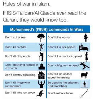 Being Alone, Church, and Isis: Rules Of War in islam  If ISIS/Taliban/Al Qaeda ever read the  Quran, they would know too  Muhammed's (PBUH) commands in Wars  Don't cut a tree  Don't kill a woman  559  Don't kill a child  Don't kill a sick person  Don't kill old people  Don't kill a monk or a priest  Don't destroy a temple or  a church  Don't disfigure the dead  Don't kill an animal  except for eating  Don't destroy a building  Don't kill those who  Be good to the prisoners  and feed themm  surrendered  Don't kill who ran away  Don't enforce Islam drunxaspunx:  stillnotchrys:  arab-quotes:  The last one alone is enough to debunk the whole premise that ISIS represents Islam.  I'm going to put this on queue just incase people need reminding   Wow ISIS is breaking every single one of these rules.