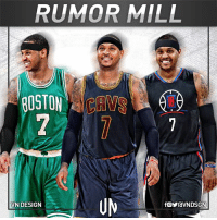 Boston Celtics, Carmelo Anthony, and Celtic: RUMOR MILL  BOSTON  VN DESIGN A day after the New York Knicks and Cleveland Cavaliers were linked in trade talks, today the Knicks and the L.A. Clippers were mentioned as potential partners in a report from the New York Daily News' Frank Isola.   They aren't the only ones chasing after Anthony. Adrian Wojnarowski and Chris Mannix of The Vertical report the Knicks have reached out to the Boston Celtics about a possible Carmelo Anthony trade.  #Melodramma continues.  #VNdesign