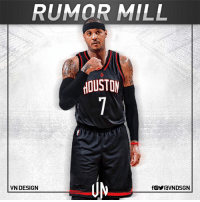 Carmelo Anthony would join Chris Paul, James Harden in Houston Rockets, if he gets New York Knicks buyout, according to Stephen A. Smith.  #VNdesign: RUMOR MILL  HOUSTON  VN DESIGN Carmelo Anthony would join Chris Paul, James Harden in Houston Rockets, if he gets New York Knicks buyout, according to Stephen A. Smith.  #VNdesign