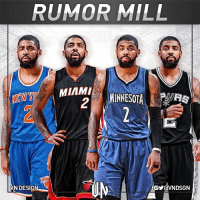 Cleveland Cavaliers, New York Knicks, and Kyrie Irving: RUMOR MILL  MIAMI  2  MIAN, MINNESOTA 1  VN DESIGN Kyrie Irving seeks trade to leave Cleveland Cavaliers. Per Adrian Wojnarowski & Chris B. Haynes, San Antonio Spurs, Miami Heat, New York Knicks & Minnesota Timberwolves are among the teams Irving would like to be traded to. VNdesign