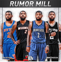 Kyrie Irving seeks trade to leave Cleveland Cavaliers.  Per Adrian Wojnarowski & Chris B. Haynes, San Antonio Spurs, Miami Heat, New York Knicks & Minnesota Timberwolves are among the teams Irving would like to be traded to.  #VNdesign: RUMOR MILL  MIAMI  MINNESOTA  .  VN DESIGN Kyrie Irving seeks trade to leave Cleveland Cavaliers.  Per Adrian Wojnarowski & Chris B. Haynes, San Antonio Spurs, Miami Heat, New York Knicks & Minnesota Timberwolves are among the teams Irving would like to be traded to.  #VNdesign