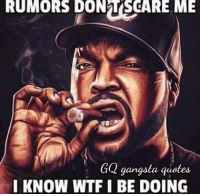 Yup Ice Cube: RUMORS DONTSCARE ME  GQ gangsta guotes  I KNOW WTF I BE DOING Yup Ice Cube