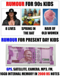 Memes, Gps, and Bank: RUMOUR  FOR 90s KIDS  8 LIVES  SPRING IN  HAIR OF  THE BAT  OLD WOMEN  RUMOUR  FOR PRESENT DAY KIDS  giTR RESERVE BANK OF INDIA  OAA 000000  R2000  QAA 000000  GPS, SATELLITE, CAMERA, MP3, FM,  16GB INTERNAL MEMORY IN 2000 RS  NOTES :P