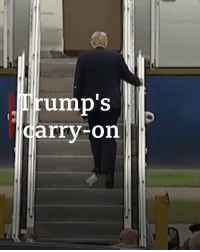 Donald Trump was spotted with what appeared be toilet paper stuck to the sole of his shoe as he boarded an Air Force One plane. The US president was heading to a Make America Great Again rally in Minnesota. donaldtrump airforceone oops bbcnews: rump'S  arry-on Donald Trump was spotted with what appeared be toilet paper stuck to the sole of his shoe as he boarded an Air Force One plane. The US president was heading to a Make America Great Again rally in Minnesota. donaldtrump airforceone oops bbcnews