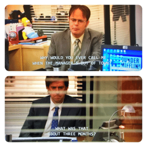 Run through #617 watching The Office and I just noticed a (minor) flaw. S9E7 Dwight tells David that Andy was out of town. S9E15, David just finds out the Andy was gone for 3 months.: Run through #617 watching The Office and I just noticed a (minor) flaw. S9E7 Dwight tells David that Andy was out of town. S9E15, David just finds out the Andy was gone for 3 months.