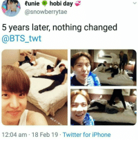 Iphone, Twitter, and Bts: Runie hobi day  @snowberrytae  5 years later, nothing changed  @BTS_twt  12:04 am 18 Feb 19 Twitter for iPhone