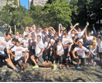 Run, Autism, and Hope: RUNKI  RUNN  GONUTS <p>Team Runkin Gonuts (aka our staff) made sure to stretch before the Autism Speaks: 4 Miles of Hope fun run in Central Park this weekend. Safety first!</p>