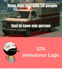 RT @Hilarious_Idiot:: Runs overagdkims 50 people  Justto save one person  GTA  ambulance Logic RT @Hilarious_Idiot: