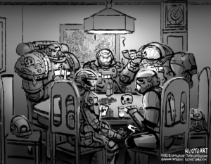 ruoyuart:  Last week's Patreon sketch: Dogs of War Playing Poker.: RUOYUART  FACEBOOKCOMRUOYUART TWIER COM/RUOYUART  INSTAGRAMCOMRUOOARY RUOTUART TUMBLKIOM ruoyuart:  Last week's Patreon sketch: Dogs of War Playing Poker.