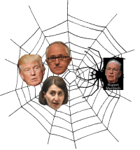 Rupert Murdoch as a spider with Trump, Turnbull and Gladys Berejiklian (NSW Premier) in his net (more details in comments): Rupert  Murdoch Rupert Murdoch as a spider with Trump, Turnbull and Gladys Berejiklian (NSW Premier) in his net (more details in comments)
