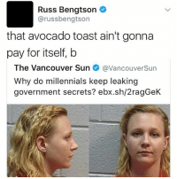 Memes, Millennials, and Avocado: Russ Bengtson  arussbengtson  that avocado toast ain't gonna  pay for itself, b  The Vancouver Sun  avancouverSun  Why do millennials keep leaking  government secrets? ebx.sh/2ragGeK @russbengtson 🥑🍞